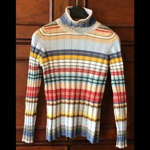 Nean Marcus 100% Cashmere Striped Turtleneck. S
